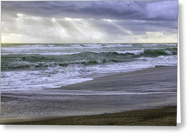 Florida Treasure Coast Beach Storm Waves Greeting Card