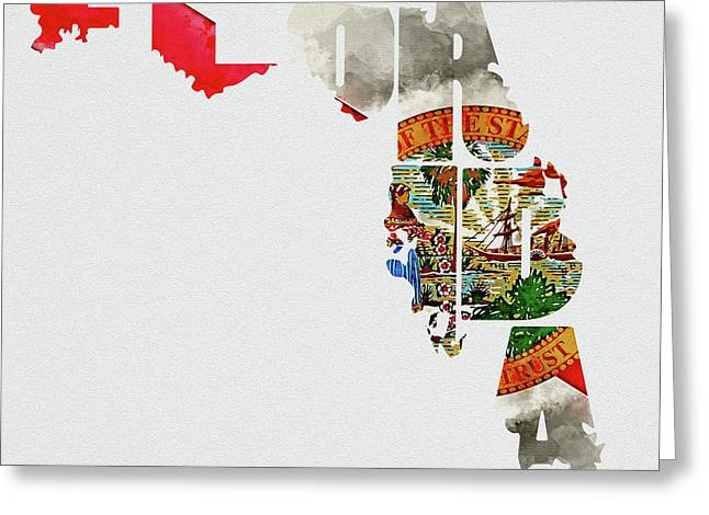 Florida Typography Map Flag Greeting Card by Kevin O'Hare