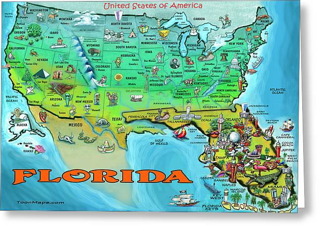 Florida Usa Cartoon Map Greeting Card