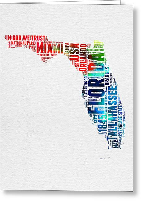 Florida Watercolor Word Cloud Mao Greeting Card