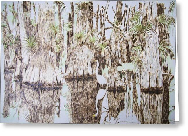 Original Pyrography Greeting Cards - Florida Wildlife Pyrograpgic Portrait by Pigatopia Greeting Card by Shannon Ivins