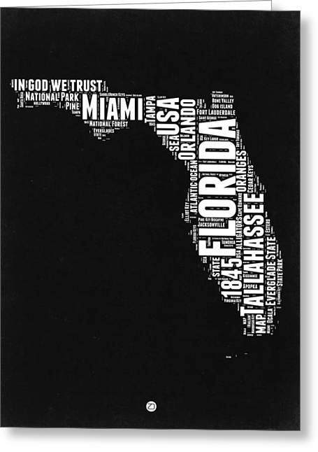 Florida Word Cloud Black And White Map Greeting Card by Naxart Studio