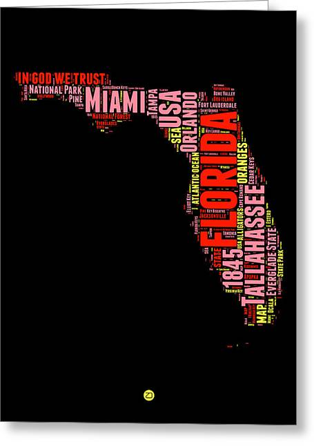 Florida Word Cloud Map 1 Greeting Card
