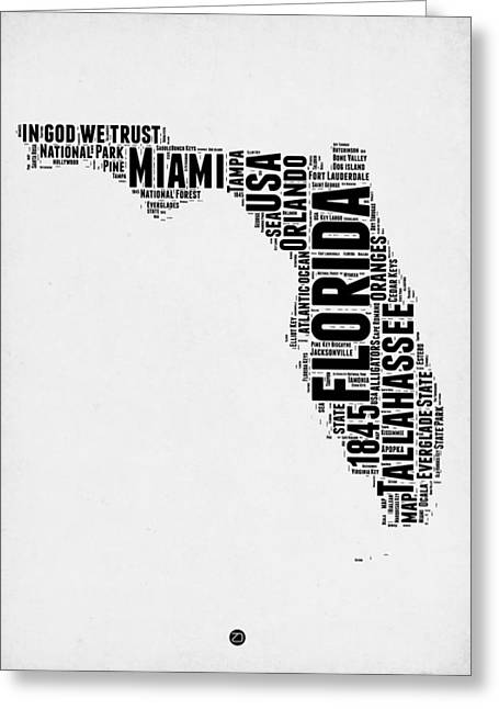 Florida Word Cloud Map 2 Greeting Card