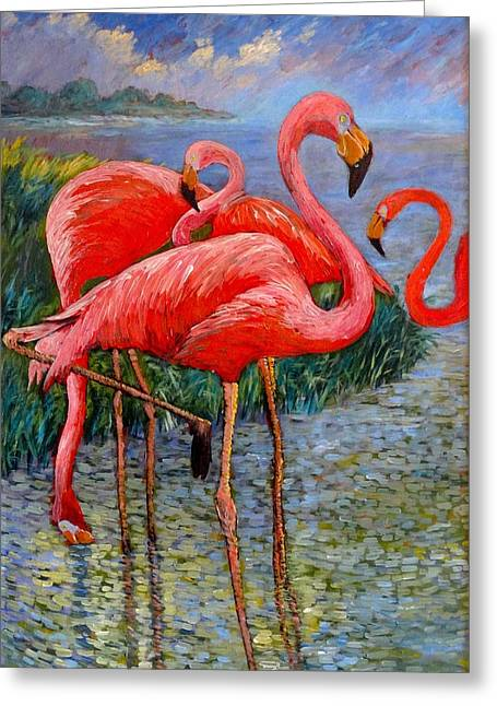 Greeting Card featuring the painting Florida's Free Flamingo's by Charles Munn