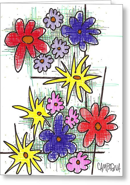 Florists Dozen Greeting Card by Teddy Campagna