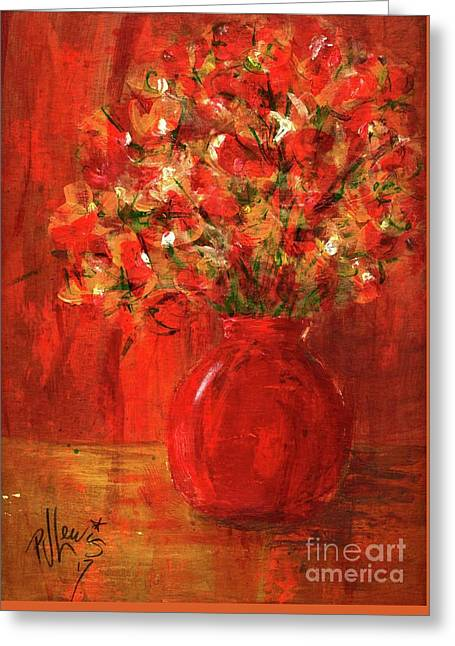 Greeting Card featuring the painting Florists Red by P J Lewis