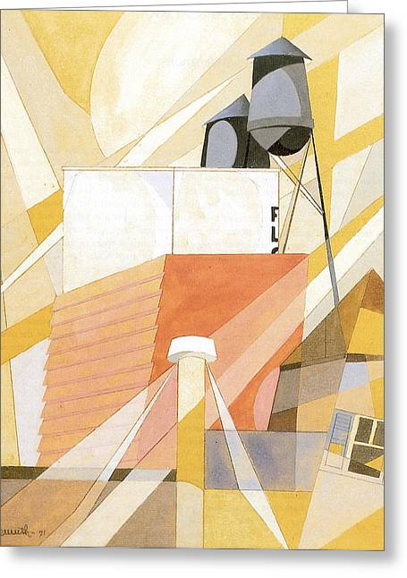 Flour Mill Factory Greeting Card by Charles Demuth