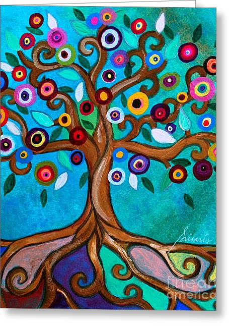 Greeting Card featuring the painting Flourishing Tree by Pristine Cartera Turkus
