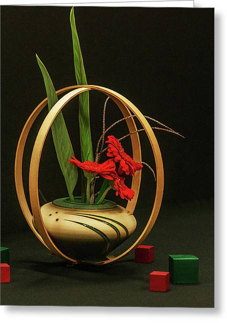 Flow Ikebana Greeting Card by Carolyn Dalessandro
