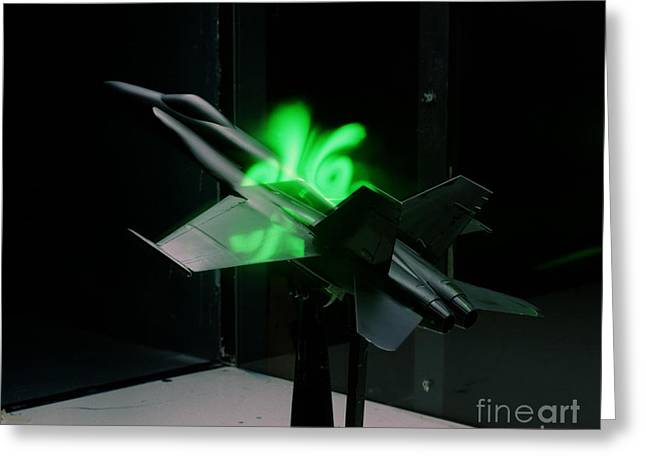 Flow Visualization Above An Fa-18 Model Greeting Card by Stocktrek Images