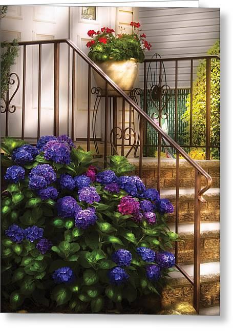 Flower - Hydrangea - Hydrangea And Geraniums  Greeting Card by Mike Savad