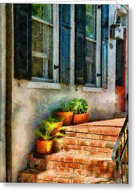 Flower - Plants - The Stoop  Greeting Card by Mike Savad