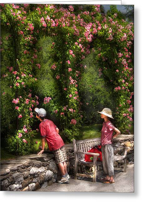 Flower - Rose - Smelling The Roses Greeting Card by Mike Savad