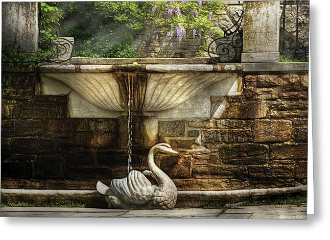 Flower - Wisteria - Fountain Greeting Card by Mike Savad
