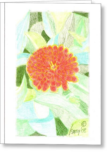 Flower 1 - Orange Red Zinnia Greeting Card by Rod Ismay