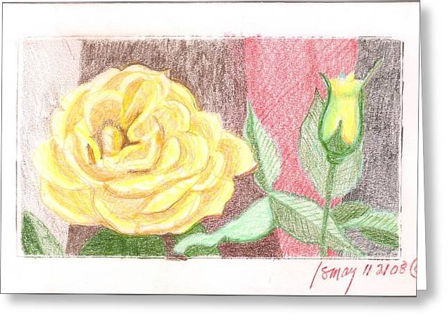 Greeting Card featuring the drawing Flower 4 - Yellow Rose And Bud by Rod Ismay