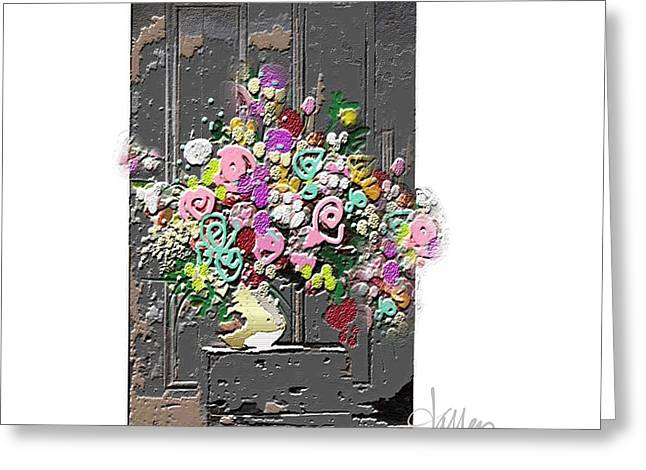 Greeting Card featuring the mixed media Flower Arrangement by Larry Talley