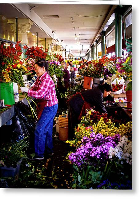 Flower Arrangers Greeting Card by David Patterson
