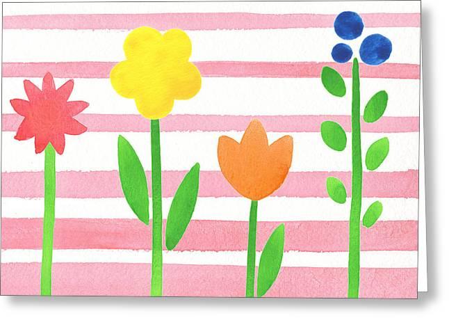 Flower Bed On Baby Pink Greeting Card by Irina Sztukowski