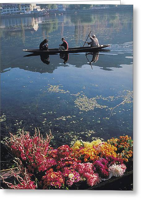 Flower Boat On Vale Of Kashmir Greeting Card by Carl Purcell