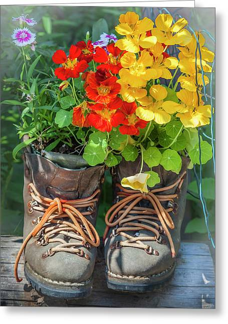 Flower Boots Greeting Card