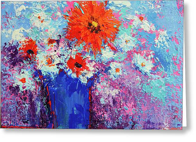 Flower Bouquet Modern Impressionistic Art Palette Knife Work Greeting Card