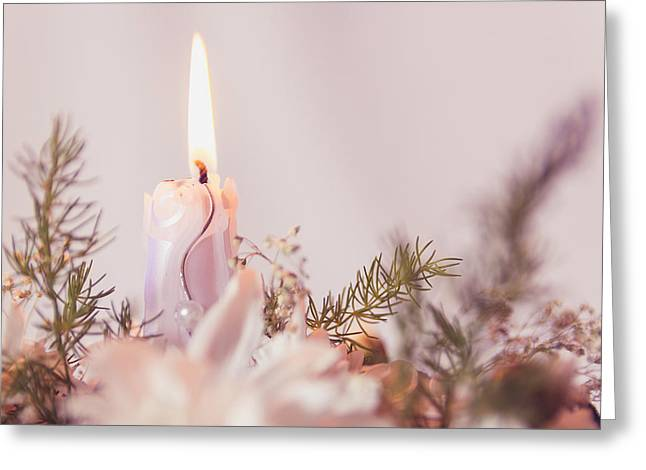 Flower Bouquet With Candle Greeting Card by Thubakabra