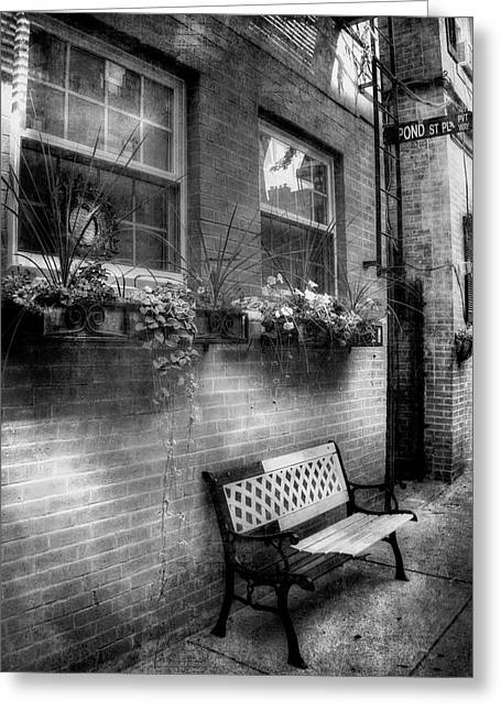 Flower Boxes And Iron Bench In Boston North End Greeting Card