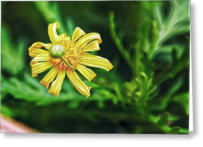 Greeting Card featuring the digital art Flower And Bud by Doctor Mehta