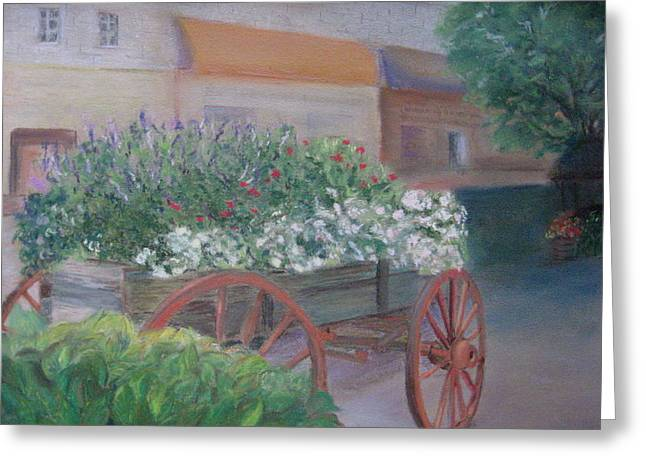 Georgia Pastels Greeting Cards - Flower cart in Savannah Greeting Card by Diane Larcheveque