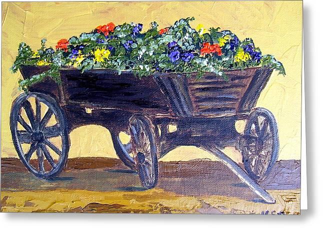 Flower Cart Greeting Card by Maria Soto Robbins