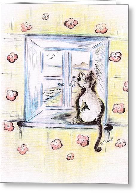 Flower - Cat  Greeting Card by Teresa White