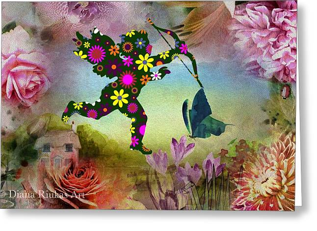 Flower Cherub Greeting Card by Diana Riukas