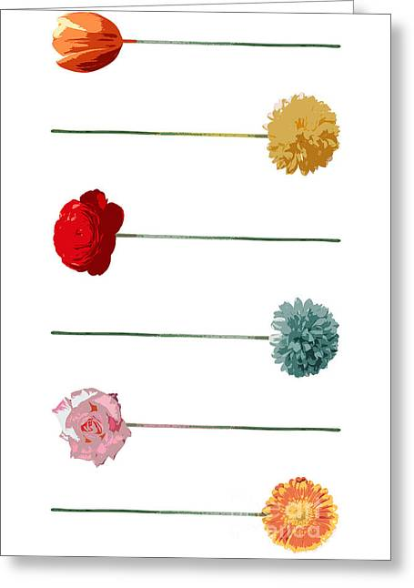 Flower-collage Vertical Greeting Card by Frank Hoven