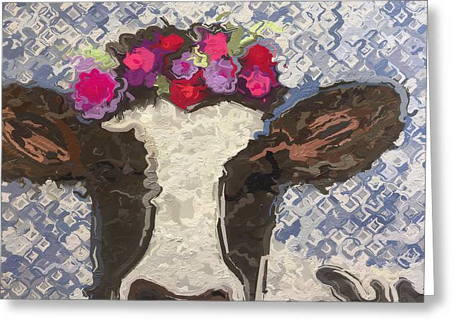 Flower Cow Greeting Card