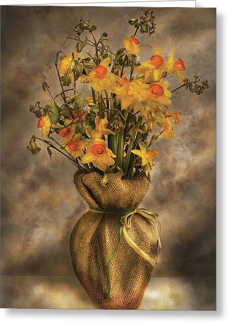 Flower - Daffodils In A Burlap Vase Greeting Card by Mike Savad