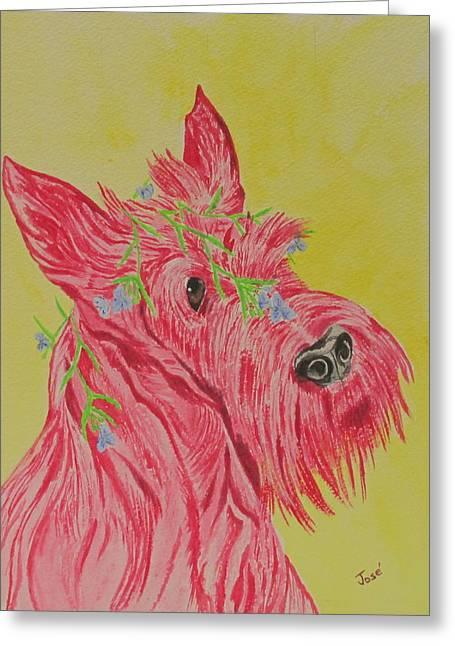 Flower Dog 6 Greeting Card by Hilda and Jose Garrancho