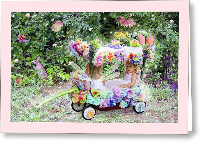 Flower Fairies In A Flower Mobile Greeting Card