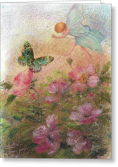 Flower Fairy Butterfly Roses Greeting Card