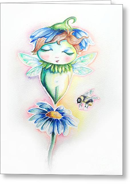 Flower Fairy Greeting Card by Willow Heath