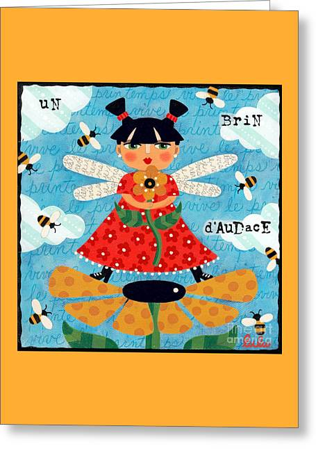 Flower Fairy With Bees Greeting Card by LuLu Mypinkturtle