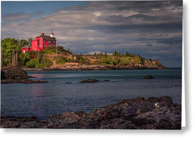 Flower Fan Club At Marquette Harbor Light Greeting Card