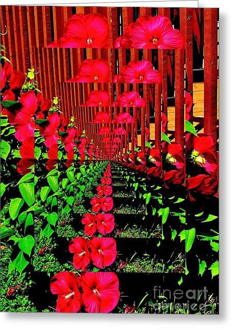 Greeting Card featuring the digital art Flower Garden Abstract by Marsha Heiken