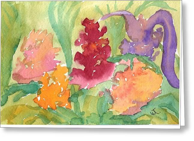 Flower Garden Abstract Greeting Card by Warren Thompson