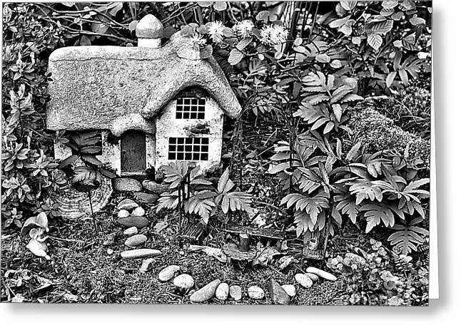 Flower Garden Cottage In Black And White Greeting Card