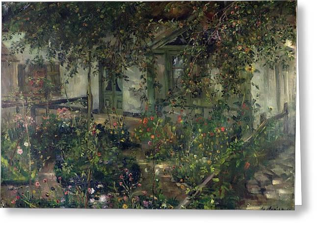 Flower Garden In Bloom Greeting Card by Franz Heinrich Louis