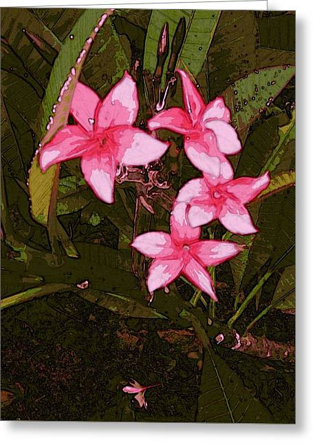 Greeting Card featuring the digital art Flower Gems by Winsome Gunning