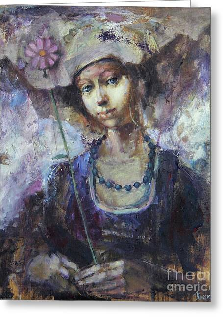 Flower Girl Greeting Card by Michal Kwarciak