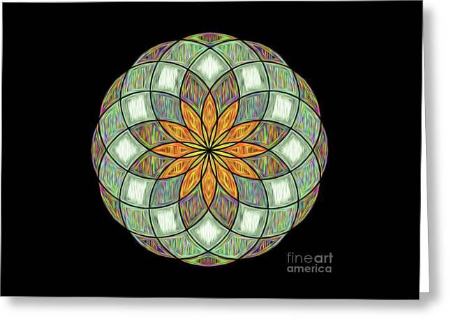 Greeting Card featuring the digital art Flower Mandala Painted By Kaye Menner by Kaye Menner
